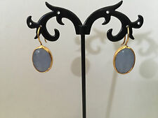 Gold Oval Disc Earrings Blue Jade Gemstones Bronze Turkish Ottoman Boho Ethnic