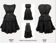 Gothic Punk Rave Kleid Rock schwarz Sommer mit Gürtel in 3 Varianten zu tragen