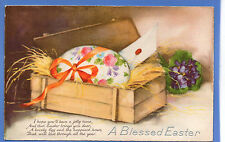 OLD VINTAGE 1940 EMBOSSED POSTCARD A BLESSED EASTER EGG IN A BOX FLOWERS