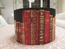 Handmade Drum Lampshade  40cm Library Book fabric antique black