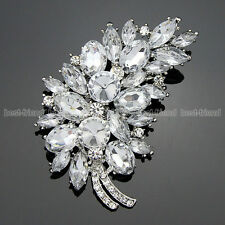 Crystal Feather Clear Rhinestone Flower Brooch Pin Silver Diamante Jewelry Gift