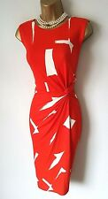 PHASE EIGHT Red Dress 16 BNWT Costa Rica Ruched Stretch Wiggle Party