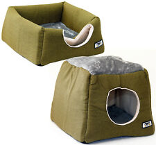Collapsible 2 in 1 Kitten Cat Puppy Dog Pet Igloo Cave Bed House Med Green