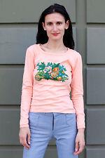 Mondi Nic Damen Shirt lang long rosa pink Blumen 70er True VINTAGE 70´s women