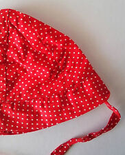 Baby Sun Hat Red with White spots   estimated size 0 – 6 months vintage 1980s
