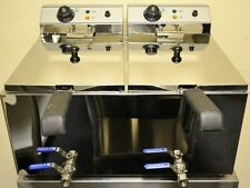 NEW CHROME DOUBLE Electric TWIN 17L Commercial Deep Fat Fryer with TAPS and lids