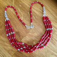 BEADED RED CORAL NECKLACE 4 STRAND SILVER HANDMADE BOHO TRIBAL GEMSTONE JEWELRY
