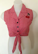 Rockabilly Pinup Sexy Sleeveless Tie Up Top Cherry detail Red & White  SIZE XS