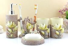 5Pcs 3D Magnolia Carved Bathroom Accessories Sets  Soap Holder Toothbrush Cup