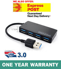 USB 3.0 HUB 4 Port External Compact Portable Built-in Cable For PC Laptop Mac