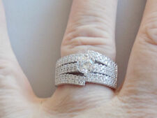 Showstopper Piece !! An Ultra Stylish Unusual Sterling Silver & CZ Ring Sz P
