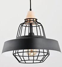 TAMARIS Modern metal wood pendant ceiling light in black Vintage Industrial