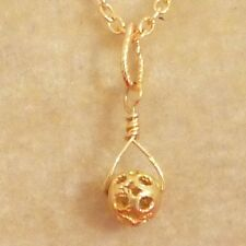 """Filigree Ball Charm Solid 18K Yellow Gold Antique 5mm .2"""" 11mm With Jump Ring"""