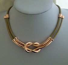 Unusual Modern Beige Leather Rose Gold Bow Line Knot Necklace Lagenlook Necklace