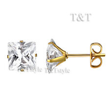 T&T 6mm 14K Gold GP 316L Stainless Steel CZ Square Stud Earrings ES05J(6)