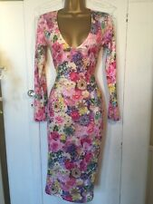 Asos Bodycon Dress 8 Stunning Floral And Gems Occasion Wedding Cruise Party Pink
