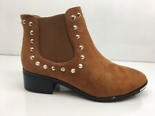 LADIES WOMENS CAMEL ANKLE HIGH STUDS SUEDE FAUX CHELSEA BOOTS SHOES SIZE 7