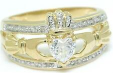 Real Claddagh White Sapphire & 20 Diamond 9ct 375 Solid Gold Celtic Irish Ring