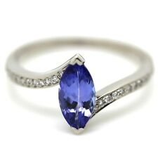 1.15 Carat Marquise Tanzanite with Diamond Ring Crafted in 18k White Gold