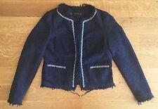 ZARA Navy Blue Boucle Tweed Beaded JACKET BLAZER EMBELLISHED Beads SZ XS