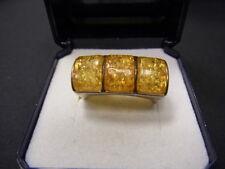 925er Silberring mit3 Bernsteinen Ringgroße 57,5 Gewicht 5,85 gramm