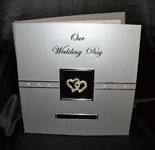 Photo Album - Our Wedding Day - Double Diamante Hearts -  Silver Aluminium