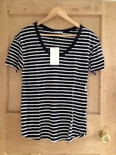 ZARA top STRIPE size S 8 10 Black White Scoop NECK Relaxed Fit BNWT