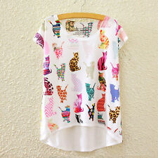 Fashion Women Short Sleeve Cat Print Asymmetric High Low T Shirt Blouse Tops