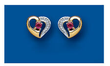 9K Yellow Gold Real Ruby Open Heart Stud Earrings - British Made - Hallmarked