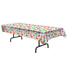 40th Celebration Plastic Tablecover - 137 x 274cm - Birthday Party Decoration