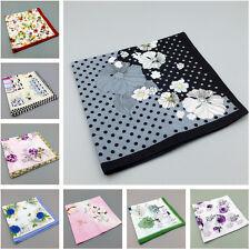 Lot 10 Ladies Cotton Handkerchiefs Set Women Vintage Style Floral Hanky Various