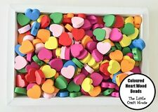 50 x 18mm Wood Heart Bead Flat Bright Mixed Colours Wooden Beads Hearts Craft