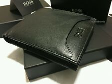 HUGO BOSS '50248816' 'ADONIDE' BI FOLD BLACK LEATHER COIN CARD WALLET GIFT BOXED