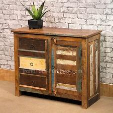 SOLID WOOD RUSTIC FINISH PAINTED VINTAGE STYLE SLIM INDUSTRIAL SIDEBOARD VTSB-03