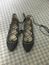 NEW BLACK TEXTURED FAUX LEATHER LACE UP FLAT SHOES WITH GOLD STUDS - UK 4 EU 37