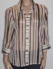 suzannegrae Designer Butter Stripe Chiffon 3/4 Sleeve Shirt Size 14 BNWT #sK37