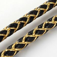 5mm Braided  PU Leather Cord Crafts Jewellery Making BLACK with Gold 1Meter