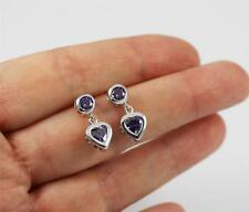 Solid 925 Sterling Silver, Purple Amethyst Heart Stud Drop / Dangle Earrings