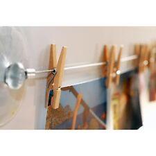 HAB & GUT Fotoleine aus Stahl 120 cm mit 12 naturbelassenen Holzklammern