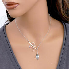 New Charm Lovely Silver Owl Pendant leaves Long Chain Necklace For Girl Gift
