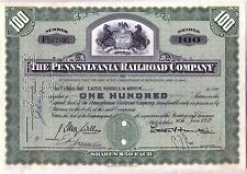 Pennsylvania Railroad Company Stock Certificate Green State Seal