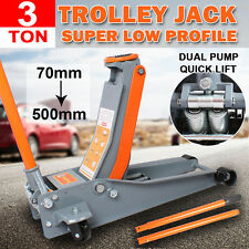 3TON Super Low Profile Hydraulic Car Trolley Floor Jack Dual Pump Quick Lift NEW