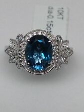 New 10K White Gold Oval Shape London Blue Topaz and 0.15ct Pave Diamond Ring