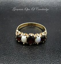 Vintage 9ct Gold Ornate Graduated Garnet and Opal Ring Size T 3.9g