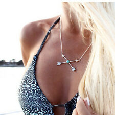 1pc Cupid Arrow Turquoise Beads Pendant Choker Necklace Woman Bobo Sexy Jewelry