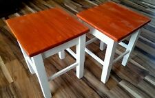 Set x2 Whitewashed Rustic Solid Wood Side Table / Bedside Tables / Stools