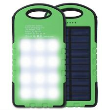 Solar Power Bank Charger 5000mAh Waterproof USB LED Light for iPhone Samsung