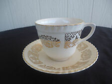 vintage johnson bros brothers old english tea cup and saucer  cream and gold