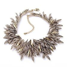 ANTHROPOLOGIE GORGEOUS GOLD SPIKES SPARKLING RHINESTONES STATEMENT NECKLACE NEW