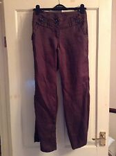 Next Size 6 Petite Brown Linen Trousers